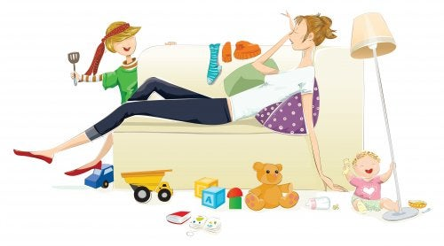 Stress da ipervigilanza: mamma sfinita sul divano.