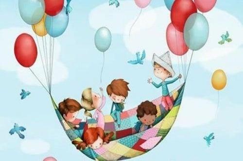 Bambini felici volano con palloncini colorati (illustrazione).
