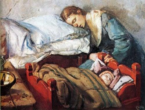 Madre stanca e figlio in un dipinto.