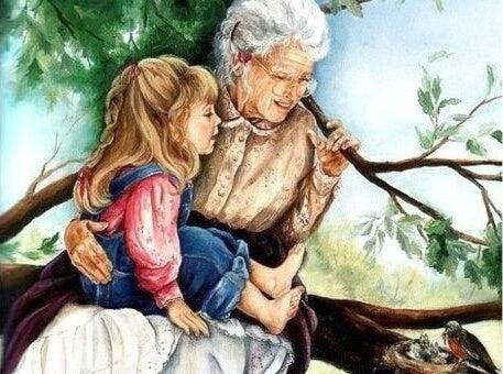 Bambini che crescono coi nonni.