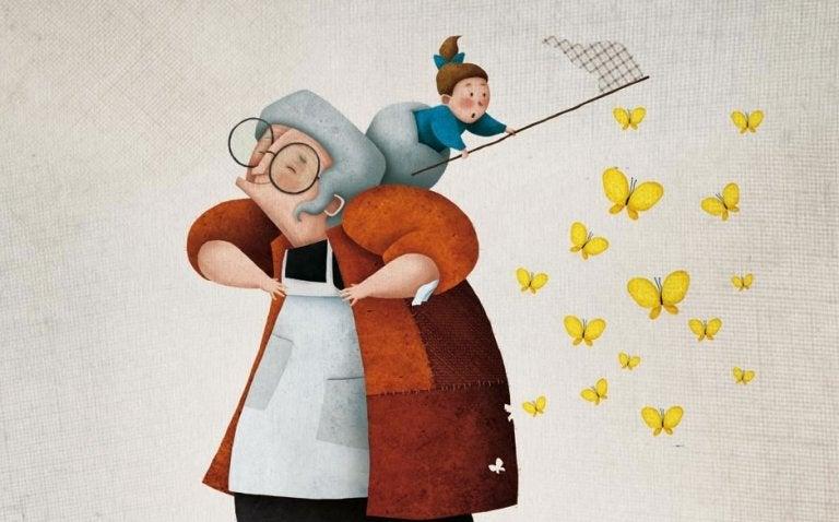 Nonna e nipotina con retino per farfalle.