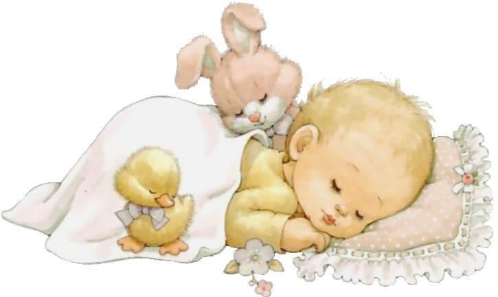 Bimbo dorme con un papero e un coniglietto.