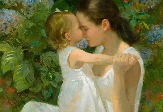 Mamma e figlia abbracciate in un dipinto.
