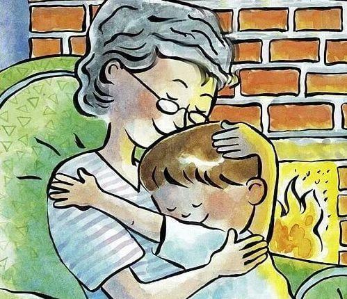 Disegno di una nonna in poltrona con in braccio il nipotino di fronte al caminetto.
