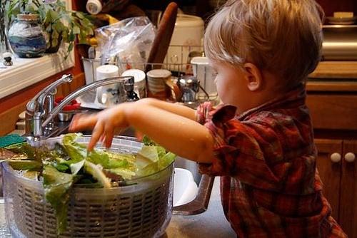 Un bimbo lava l'insalata.