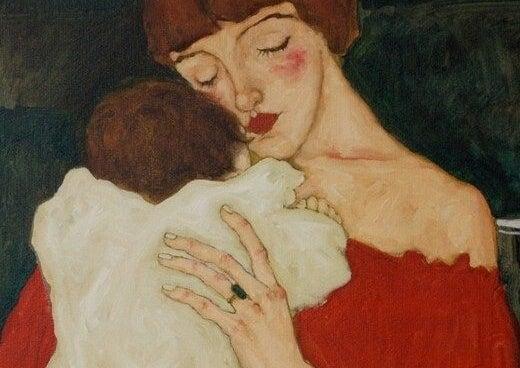 mamma abbraccia il bambino