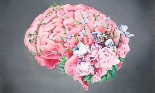 Cervello con fiori