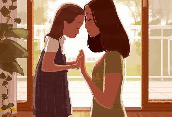 Felicità: madre e figlia, l'una di fronte all'altra.