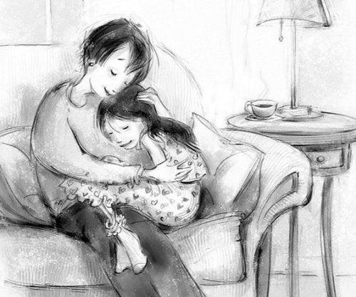 Apprendimento tardivo: una madre paziente sostiene la figlia.