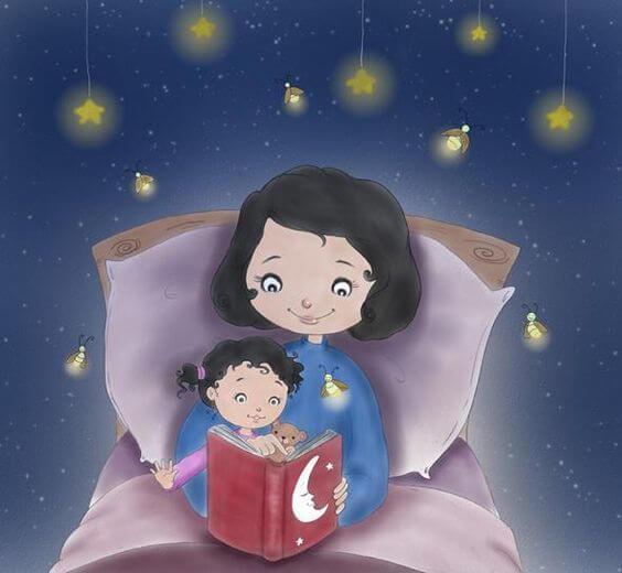 Una mamma in carriera legge una favola a sua figlia.