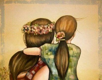 amore di una madre, madre e figlia abbracciate