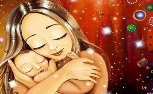 Neonato tra le braccia della mamma