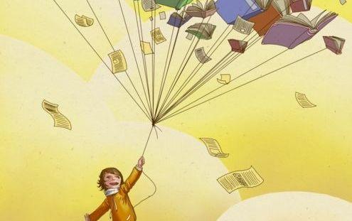 Un bambino fa volare dei libri al posto dei palloncini.