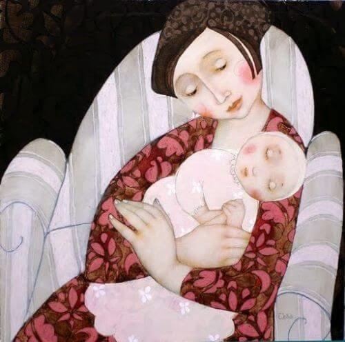 madre pazientemente accudisce figlio