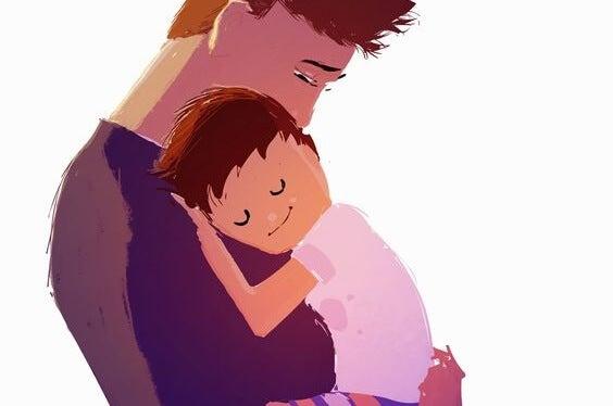 un figlio maschio dimostra il suo affetto