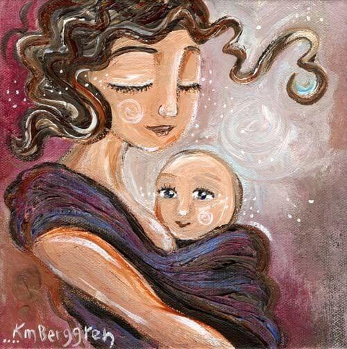 Mamma affettuosa e bambino felice