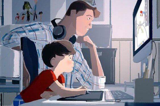 Amore paterno: padre e figlio giocano