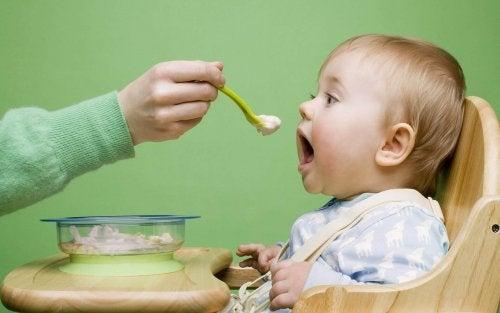 All'ottavo mese di vita, il bambino mangerà quattro volte