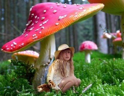 Bambina sotto un fungo