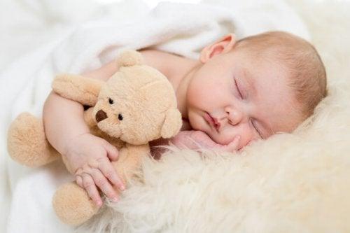 bambino che abbraccia peluche mentre dorme