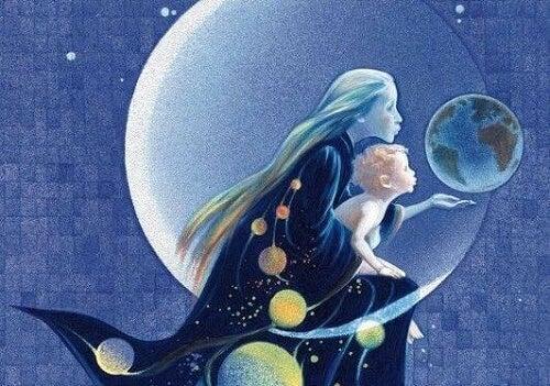 Mamma e figlio tra i pianeti