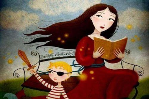 Mamma legge storia al figlio