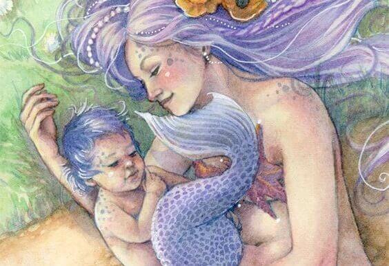 maternità magica di una sirena e il suo bambino