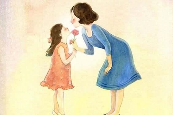 Acquerello di una mamma con la figlia