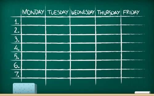 programma di studio settimanale