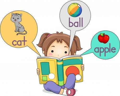 Bambina che memorizza parole inglesi