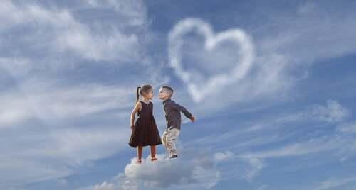 Bambini in volo su una nuvola