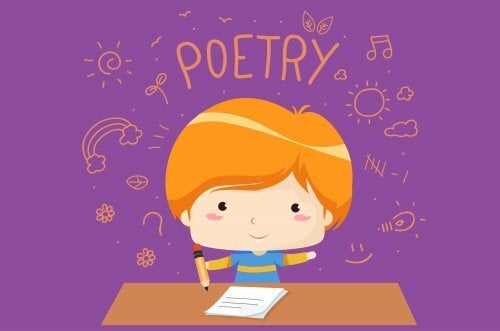 Bambino che scrive una poesia