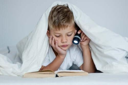 Bambino che studia a letto con la torcia