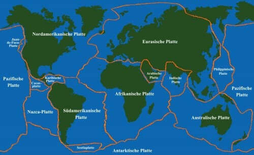 le placche principali che formano la litosfera