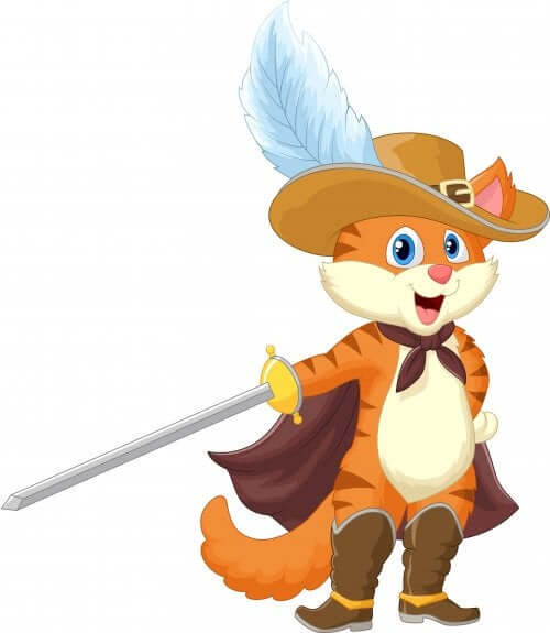 gatto con gli stivali e con cappello con piuma spada e mantello