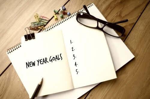 Lista di buoni propositi per lo anno nuovo.