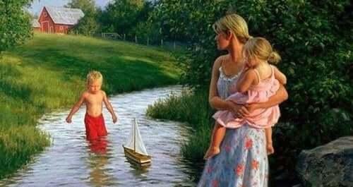 madre con i figli in campagna