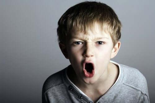 Bambino aggressivo che urla.