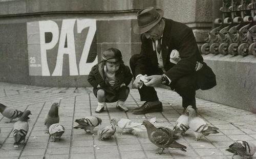 Nonno e nipote con i piccioni.