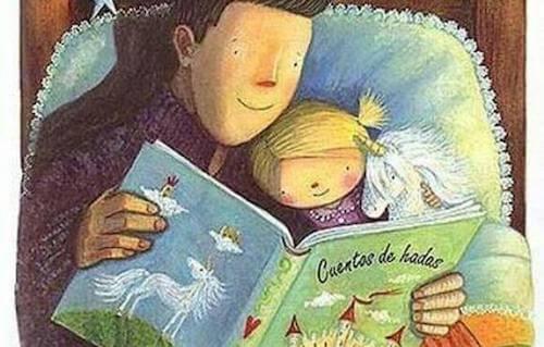 padre e figlia che leggono un libro di favole