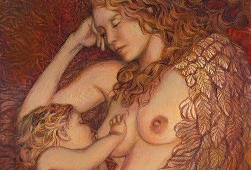 Effetto calmante dell'allattamento. Disegno di un neonato che prende il seno dalla madre.