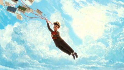 Leggere: bambino che vola grazie ai libri