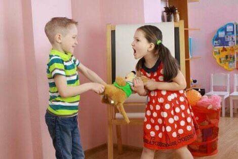 Fratelli che litigano per un giocattolo.