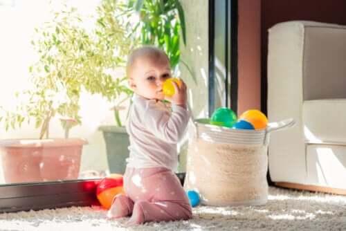 Fasi dello sviluppo del bambino. Bambino che gioca con delle palle contenute in una cesta.