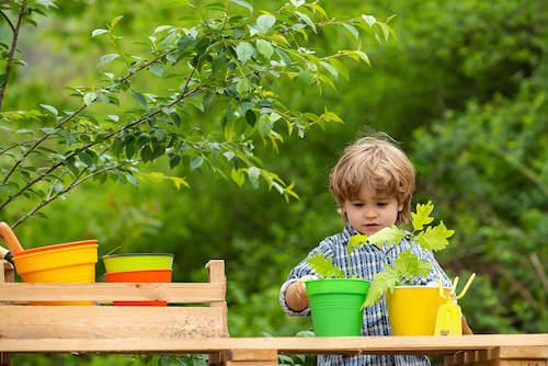 Bambino che pianta delle piante in un vaso.
