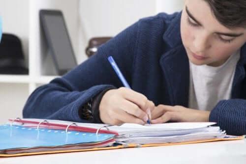 Imparare a scrivere un riassunto. Bambino che scrive su un quadernone.