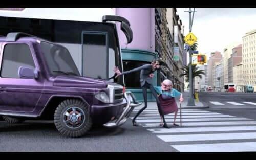 Scena del cortometraggio Mr. Indifferent sul valore di aiutare gli altri.